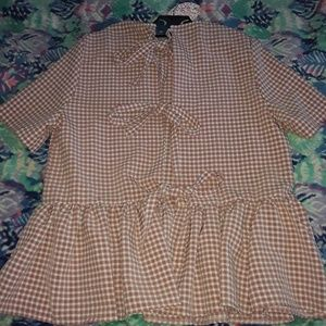 Tops - Ladies Sz Large Checkered Peplum Blouse